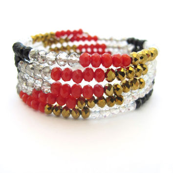 Memory Wire Wrap Bracelet - Red, Black, Gold & Gray Beads