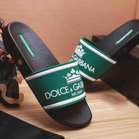 Dolce & Gabbana New Fashion Letter Print Crown Women And Men Slipper Sandals Green