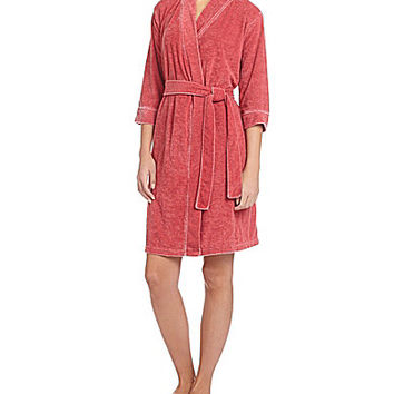 Jasmine & Ginger Lounge Burnwash Short Robe - Rabbit