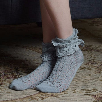 Grey Lace Bootie Sock
