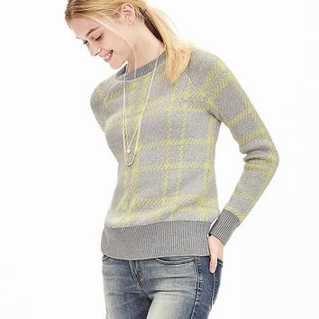 Banana Republic Womens Blocked Plaid Sweater Pullover