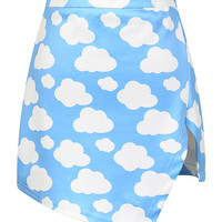Clouds Print Bodycon Asymmetric Mini Skirt