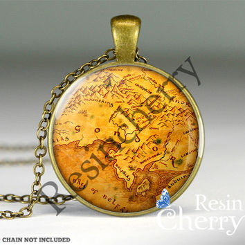 The Lord of the Rings Gondor map pendant fairy map by resincherry