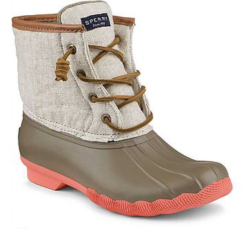 Sperry Top-Sider Saltwater Duck Boots for Women in Taupe and Natural Hemp STS95346