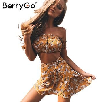 BerryGo Off shoulder floral print two-piece dress women Vintage party bow tie short dress Summer beach female dress vestido 2017