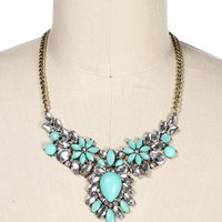 Mint Faceted Tear Gem Necklace