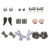 Multi-Bow Button Earring 9-Pack | Wet Seal