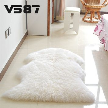 Hairy Carpet Sheepsi r Cover Faux Mat Seat Pad Si Fur Fluffy Area Rugs Washable Artificial Textile