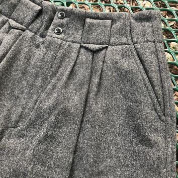 CLIFFORD & WILLS Women's Vintage Gray Wool Pleated Front Pants, Size 8