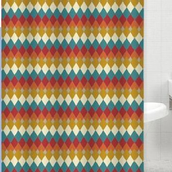 Aztec Jacquard Fabric Shower Curtain