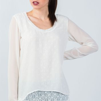 White Long Mesh Sleeve Top with Lace Underlining