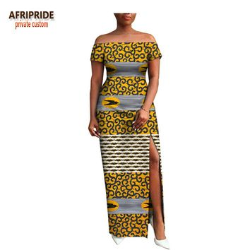 AFRIPRIDE private custom african clothing autumn dress short sleeve maxi batik side-opening party dress for women A722538