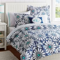 Daisy Dot Duvet Cover + Sham, Pool/Navy
