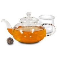 Primula Daisy Borosilicate 40oz Glass Teapot with Glass Infuser - For Loose Tea, Bagged and Flowering Teas