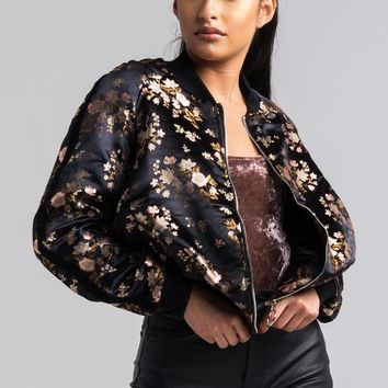 AKIRA Long Sleeve Embroidered Floral Zip Up Bomber Jacket in Black