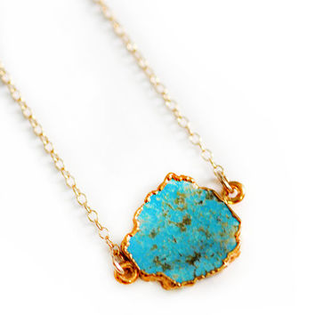 Raw Turquoise Necklace by shopkei on Etsy