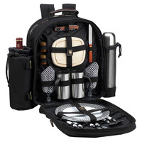 Coffee & Picnic Backpack for 2, Black, Acrylic / Lucite, Backpacks