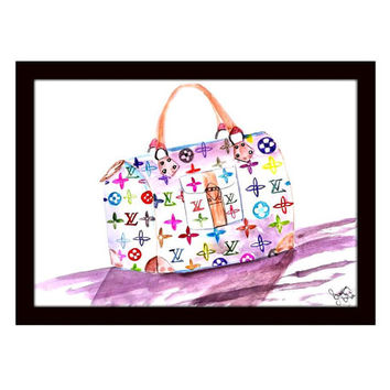 Louis vuitton, lv Wall Art, watercolor painting, decal decals, print, chanel, hand bag, white, fashion, travel, wander, girly room decor