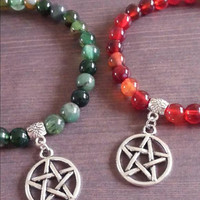 Pagan pentagram gemstone bracelet natural red or green