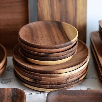2pcs Round Wooden Plates Set High Quality Acacia Wood Cake Dishes Dessert Serving Tray Wood Sushi Plate Tableware Dinnerware