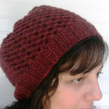 Hand Knit Slouch Hat Rosewood Deep Red by WindyCityKnits on Etsy