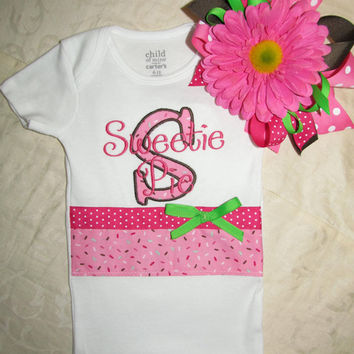 Custom Handmade cupcake sprinkles Onesuit / bodysuit you choose name with large flower headband