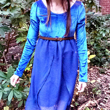 Long Velvet Dress - Blue Velvet and Chiffon Ballet/Fairy Tale Inspired Dress, Empire Waist, Long Sleeves