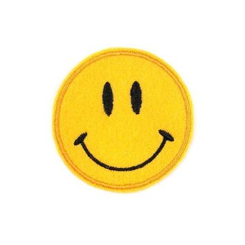 Mini Smiley Face Handmade Felt Patch