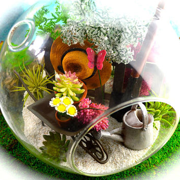 "Flower Garden Terrarium Kit ~ 8"" Air Plant Terrarium ~ Gardener's Hat, Wheelbarrow, Flowers, Shovel ~ 2 live Air Plants ~ Gift for Mom"
