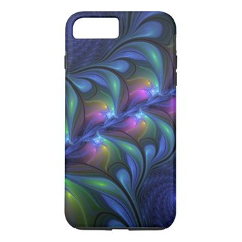Colorful Luminous Abstract Blue Pink Green Fractal iPhone 8 Plus/7 Plus Case