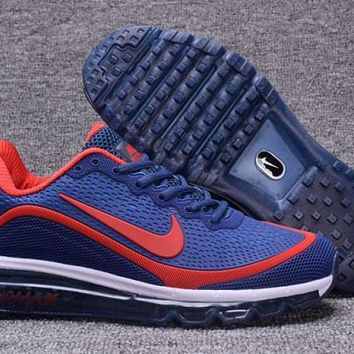 Reliable Nike Air Max 2017 KPU Navy Blue, Red & White Men's Running Shoes