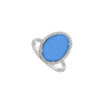 Sterling Silver Blue Chalcedony and Cubic Zirconia Ring 16.00 CT TGW