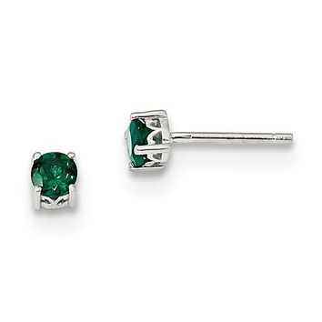 Sterling Silver 4mm Round Created Emerald Post Earrings