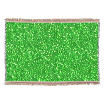 Bright Lime Green Sparkles Faux Glitter Texture Throw Blanket