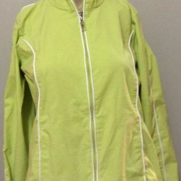 Danskin Now active warm up Lime Green Athletic Jacket S 4/6 windbreaker running