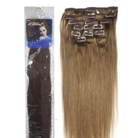 "18"" Clip in Human Hair Extensions, 10pcs, 100g, Color #6 (Chestnut Brown)"