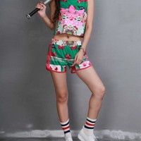 """Adidas"" Women Casual Multicolor Floral Butterfly Print Sleeveless Vest Shorts Set Two-Piece Sportswear"