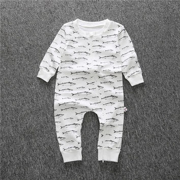 2016 new fish printed baby clothes newborn boy girl clothing long sleeve baby romper climbing clothes newborn set CR064