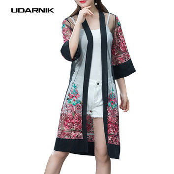 Ethnic Women Sheer Mesh Chiffon Kimono Cardigan Embroidery Flower See-through Long Cape Coat Jacket Summer 907-459
