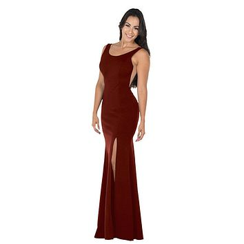 Burgundy Long Formal Dress with Sheer Side Cut-Outs and Slit