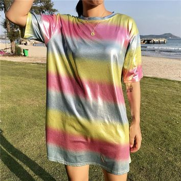 2018 new Korean pop bts Summer tops casual fashion loose gradient glossy rainbow stripes round neck T-shirt female long section