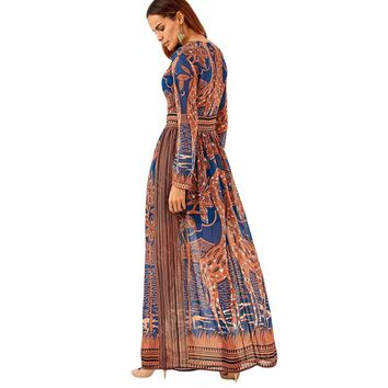 Bohemian print long dress women o neck maxi long Sleeve dress floral print retro hippie vestidos chic clothing boho dress YF562