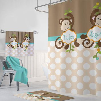 Monkey SHOWER CURTAIN Personalized Kid Child Bathroom Brother Sister Boy Girl Names Shared