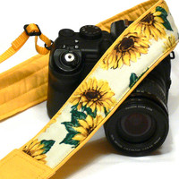 Sunflowers Camera Strap. DSLR Camera Strap. Canon Nikon Camera Strap. Yellow camera strap. Camera Accessories
