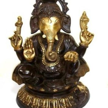 Solid Brass Sitting Ganesha Statue From India 22 Inch