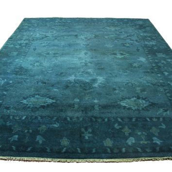 9x12 Turkish Ushak Design Aqua Overdyed 100% Wool Rug Handknotted 2927