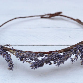 Purple Lavender Rustic Floral Crown for Bride Bridesmaids or Flowergirls Flower Headband Wedding Accessory Bridal Headpiece Festival