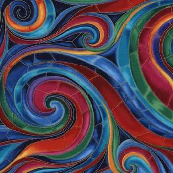 Stained Glass Tiffany Swirl Timeless Treasures Fabric 1 yard