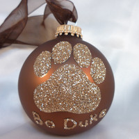 Dog Paw Print Glitter Ornament - Personalized Pet Doggie Glass Ball Ornament - Chocolate Brown Ornament