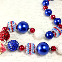 Fourth of July Pendant, Red White and Blue Chunky Necklace, Adult Necklace